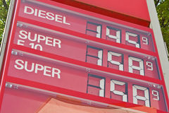 High gasoline prices at a gas station Stock Photo