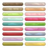 High gloss rounded web buttons in cool colors. Shiny round web buttons with reflection and shadows, isolated on white. Colors: brown, gray, blue, green, pink Stock Photography