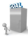 High goal. Concept, goal word on top of a shiny metal structure with little 3d man taking account of the challenge involved in achieving it Royalty Free Stock Images