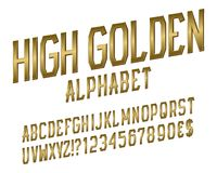 High golden alphabet witn numbers, dollar and euro currency signs, exclamation and question marks.  vector illustration