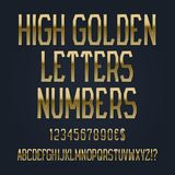 High golden letters, numbers, dollar and euro currency signs, exclamation and question marks.  vector illustration