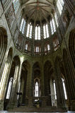 High Gothic ceiling, Mont St Michel. High Gothic ceiling of the abbey church or cathedral at Mont St. Michel, France Stock Images