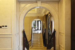 High-grade club stairs arch,stone arches, escalators and curtain,  flower Stock Images