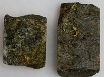 High-Grade Gold Ore Core Samples Stock Image