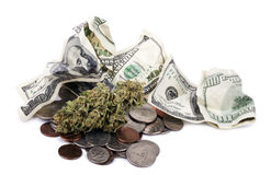 Marijuana, Change & Cash Royalty Free Stock Photo
