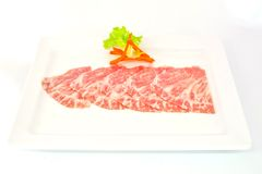 High grade sliced Hida wagyu beef isolated on white background Royalty Free Stock Photos