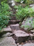 Steep stone steps up Poke O Moonshine Trail Royalty Free Stock Photo