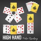 High hand poker ranking casino sets Royalty Free Stock Photos