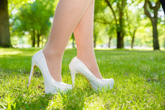High Heals in Grass Royalty Free Stock Photography