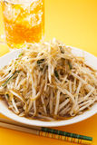 High heat stir fried shark's fin, beer and bean sprouts stock photos