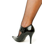 High heel. Woman leg in black high heel shoe Royalty Free Stock Images
