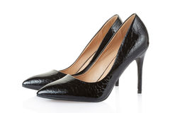 High heel black crocodile shoes pair Royalty Free Stock Images