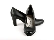 High Heel Black Leather Shoe Stock Photo