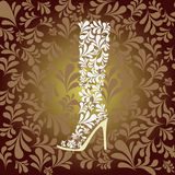 High heel boot fashion background- Illustration Royalty Free Stock Photos
