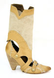 High heel cowgirl boot. Isoalted on white Stock Photography
