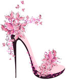 High heel decorated with butterflies. Shoes on a high heel decorated with butterflies Stock Image