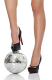 High heel with disco ball Royalty Free Stock Photo