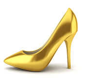 High heel golden shoe. 3d illustration on white background Royalty Free Stock Photo