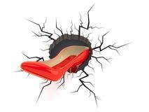 High heel inside cracked hole. Isolated on white background. 3d illustration stock illustration