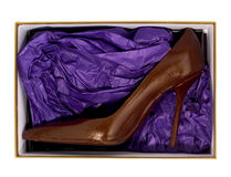 High heel made by chocolate in box Stock Photography