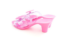 High heel plastic pink shoes for girl Stock Image