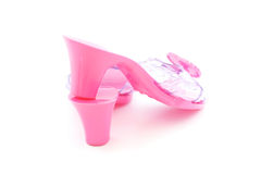 High heel plastic pink shoes for girl Royalty Free Stock Images