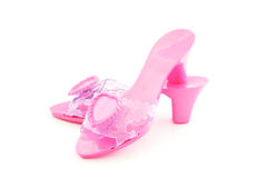 High heel plastic pink shoes for girl Stock Photography
