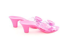 High heel plastic pink shoes for girl Stock Photo