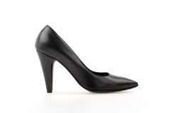 High heel pump black leather women shoe on white Royalty Free Stock Images