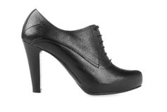 High heel pump black leather women shoe on white Stock Images