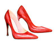 High heel red shoes. Watercolor illustration. Sexy woman accessory - red shoes Stock Photography