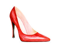 High heel red shoes. Watercolor illustration. Sexy woman accessory - red shoes Royalty Free Stock Image