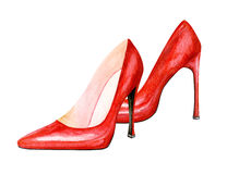 High heel red shoes. Watercolor illustration. Sexy woman accessory - red shoes Stock Photo