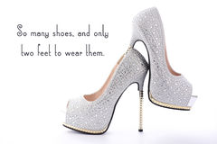 High Heel Rhinestone Shoes with Funny Saying Text. Stock Photos