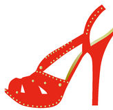 High heel shoe. Drawing of beautiful red high heel shoe Royalty Free Stock Images