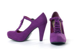 High heel shoe. Pair of  pink high heel shoes on white Royalty Free Stock Photo