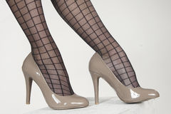 Free High Heel Shoe And Striped Pantyhose Stock Photo - 32182750