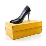 High heel shoe and box Royalty Free Stock Image