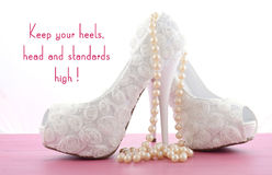 High Heel Shoe with cute inspiration and funny quotation Stock Photos
