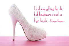 High Heel Shoe with Famous Quote Royalty Free Stock Photos