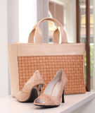 High heel shoe and lady handbag Stock Photo