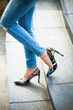 High Heel Shoes And Blue Jeans Royalty Free Stock Images