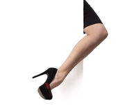High heel shoes and billboard Royalty Free Stock Image