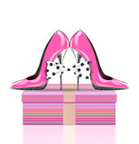 High heel shoes with bow and present Royalty Free Stock Image