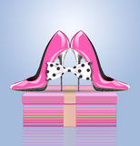 High heel shoes with bow and present stock illustration