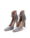 High heel shoes. Female high heel shoes in gray suede Royalty Free Stock Photo