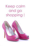 High Heel shoes with funny saying. Royalty Free Stock Photos