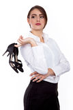 High Heel shoes off at office - Successful Young businesswoman - Stock Image Royalty Free Stock Photos