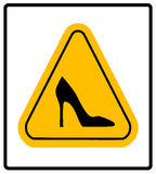 High heel shoes road sign. Elegant black silhouette. Information icon. Female driver symbol. Fashion modern label Royalty Free Stock Images