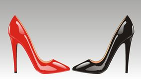 High-heel shoes(vector). Red and black high-heel shoes isolated Stock Photos
